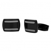 Steel Nation Jewellery Men's Black Stainless Steel Two-Tone Striped - Mens Cufflinks