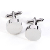 Bey-Berk Rhodium-Plated Round Cufflinks
