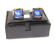 NCAA Kentucky Wildcats Square Cufflinks with Square Shape Logo Design Gift Box Set