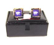 NCAA Kansas State Wildcats Square Cufflinks with Square Shape Logo Design Gift Box Set