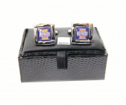 NCAA Illinois Illini Square Cufflinks with Square Shape Logo Design Gift Box Set