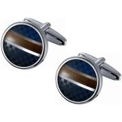 Visol Stainless Steel Round Blue Chequered and Golden Amber Striped Cufflinks