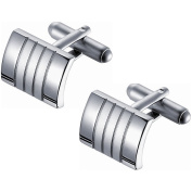 Visol Polished and Satin Rhodium-Coated Stainless Steel Cuff Links