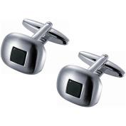 Visol Stainless Steel Brushed Rhodium Square Black Onyx Cufflinks