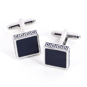 Bey-Berk Rhodium-Plated Navy Blue Enamel Cufflinks