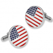 PinMart's Patriotic Round American Flag Silver Cufflink Set