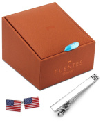 Silver Tone Tie Clip and American Flag Cufflinks Set in Deluxe Gift Box by Puentes Denver