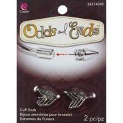 Odds & Ends Cuff Ends 2/Pkg-Silver Arrow