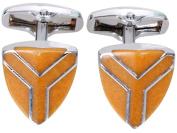 Simplicity Men's Classic Ornate Wedding Shirt Cufflinks, Triangle Orange