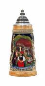 German Beer Stein Black Forest panorama with ptd. pewter lid, 0.5 litre tankard, beer mug ZO 1749-996