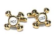 Gold-Tone Men's Cuff Links Hot & Cold Fawcett Cufflinks