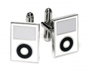 Silver-Tone Men's Cuff Links White MP3 Player Cufflinks