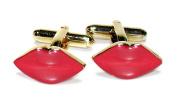Gold-Tone Men's Cuff Links RED LIPSTICK Shaped Cufflinks