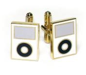 Gold-Tone Men's Cuff Links White MP3 Player Cufflinks