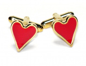 Gold-Tone Men's Cuff Links RED HEART Shaped Cufflinks