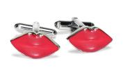 Silver-Tone Men's Cuff Links RED LIPSTICK Shaped Cufflinks