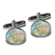 Opal October Birthstone - Faux Resin Round Cufflinks