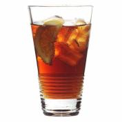 Stackable Soho Spun Highball Tumbler - Single - Stacking Drinking Glass with Horizontal Grip Pattern