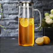 Glass pitcher,Water carafe with lid Glass water jug Removable Thicken Heat-resistant Explosion-proof-C