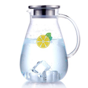 Glass pitcher,Water carafe Water carafe with lid Heat-resistant [high temperature] Explosion-proof Large capacity Glass water jug-A