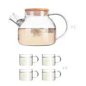 Glass pitcher,Water carafe with lid Glass water jug Water carafe Thicken High temperature resistance Tea pot-E