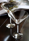 Elegant and Stunning Crystal Filled Stem Martini Glass - Wine Champagne Drinkware Cocktail Stemware Flutes Goblet, COMES IN A BEAUTIFUL GIFT BOX, Genuine Crystals