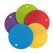 5pcs Extra Thick Silicone Trivet Mat, Hot Pads Non-slip Silicone Insulation Mat For Home Use