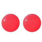 Vikenner 2 Pcs Round Silicone Table Mat Insulation Placemat Heat Resistant Pan Pot Holder Cushion Pad Non-slip Table Cup Mat - Red