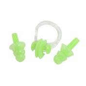 Unique BargainsSwimming Protector Green Plastic Nose Clip Silicone Earplugs Set