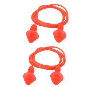 Unique BargainsSoft Silicone Swimming String Earplug Earplugs Protector Orange 2pcs