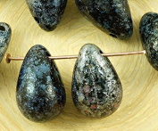 4pcs Picasso Silver Opaque Jet Black Rough Rustic Etched Extra Large Teardrop Czech Glass Beads 12mm x 18mm