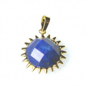 1 x Blue Lapis Lazuli 25mm Pendant (Faceted Coin) - (CB52270) - Charming Beads