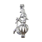 JulieWang 12Pcs Silver Mermaid Beads Lockets Stone Pearl Cage Pendant Charm for Jewellery Making