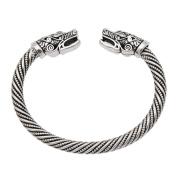 YNuth Viking Opposite Wolf Head Cuff Bangle Charm Open Bracelet for Men Silver Tone