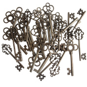 (Set of 30) Mixed Vintage Old Look Skeleton Keys Fancy Heart Bow Necklace Pendants