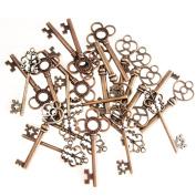 (Set of 30) Mixed Vintage Old Look Skeleton Keys Fancy Heart Bow Necklace Pendants