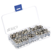 RUBYCA Natural Dalmatian Jasper Gemstone Round Loose Beads Organiser Box Jewellery Making Mix Sizes