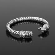 Vintage Viking Bracelet with Locking Stainless Steel Wolf Head Clasp, Antique DIY Bracelet Jewellery in Black Silver