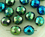 8pcs Metallic Green Iris Round Faceted Fire Polished Spacer Czech Glass Beads 10mm