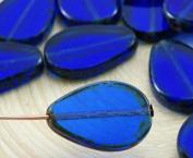 4pcs Picasso Brown Crystal Sapphire Blue Flat Teardrop Window Table Cut Czech Glass Beads 18mm x 12mm