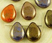 6pcs Bronze Brown Purple Orange Lustre Mix Czech Glass Flat Teardrop Beads Flower Petal 12mm x 16mm