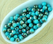 100pcs Opaque Turquoise Blue Metallic Iris Half Round Faceted Fire Polished Small Spacer Czech Glass Beads 3mm