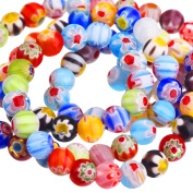 200 Pieces 6 mm Millefiori Glass Round Beads with Single Flower for Jewellery Making Craft DIY Beading Supplies, 6 mm Diameter