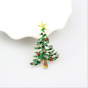 TFXWERWS Novelty Christmas Tree Multi-Coloured Crystal Brooch Pin Christmas Gift
