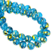 50 X BLUE GLASS CRACKLE BEADS WITH GOLD BANDING 8 MM