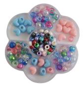Vaessen Creative Pony-Beads Kit for Bracelet Loops, Pink/ Blue