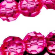 50 x 10mm Faceted crystal glass beads - Hot Pink - A3866 / 50 beads