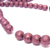 200 Pcs 4mm Textured Glass Pearl Beads - moon effect surface - KB0726 / 4mm Pinky Purple