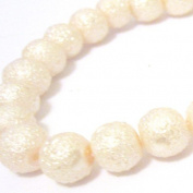 100 Pcs 6mm Textured Glass Pearl Beads - moon effect surface - KB0727 / 6mm Cream
