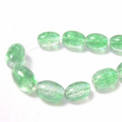 70 Pcs / 32 inch 8x11mm Oval Crackle Glass Beads - Emerald Green & Clear - A2259